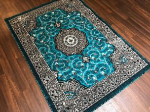 Modern Approx 6x4ft 115x165cm Woven Backed  Rug Sale Top Quality New Greys/Teal